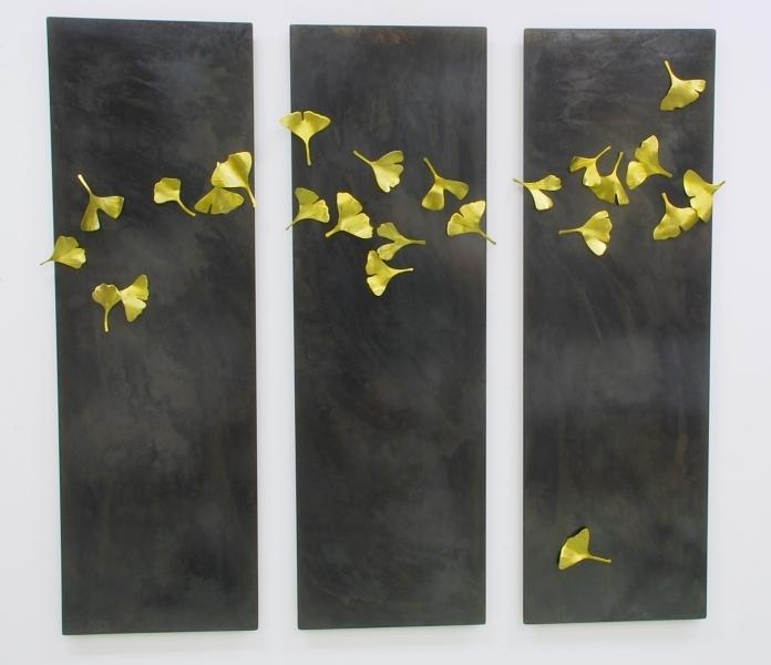 Golden Ginkgo Triptych